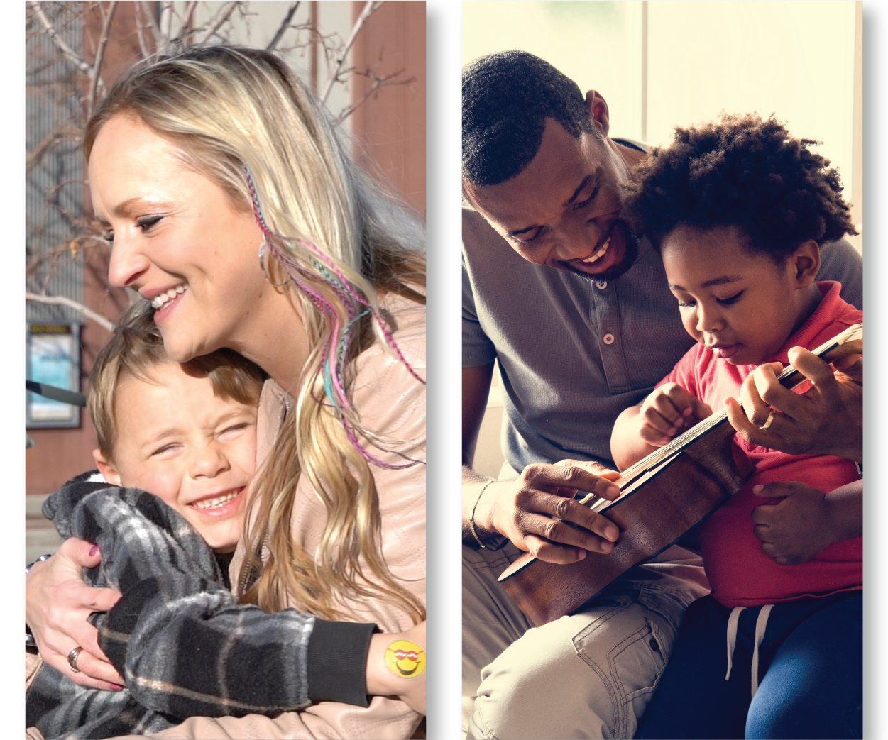 Single Parents with children - A mother and son hugging and a father and son playing guitar.